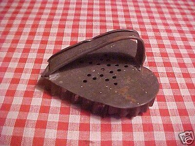 Antique TIN flatback Vtg German PA DUTCH FLOWER in HEART Xmas Cookie Cutter AAFA