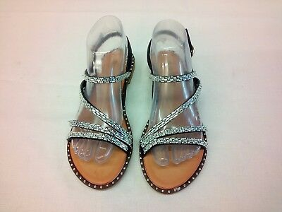 Ladies Small Wedge Flat Diamante Strappy Sandals Party Beach Shoes Sz Uk 3-8