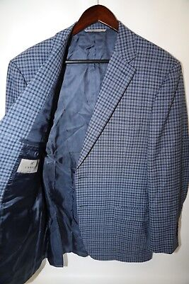 #231 CANALI  Two Button 100% Wool Check Fabric Blazer Jacket Size 44 L
