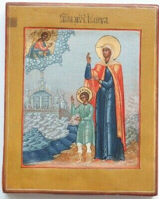 ancient russian icon holy martyr ulita 19th century 100% original