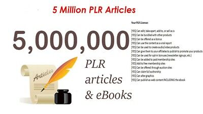 5,000,000 PLR Articles Collection Over 1000 Niches Instantly, 2000 Ebooks+ Bonus