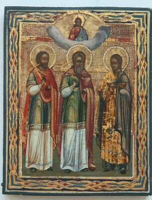 Russian ancient icon chosen saints and Jesus Christ 19th century 100% original
