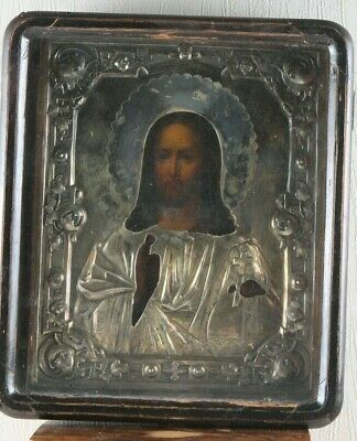 Russian icon Jesus Christ salary silver 84 standard 19th century 100% original