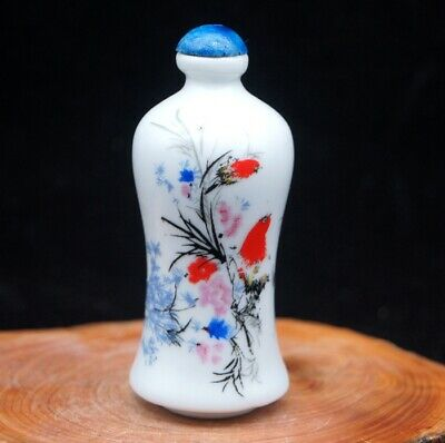 Chinese Handmade Collectible ceramics Flower and Bird porcelain snuff Bottle 3