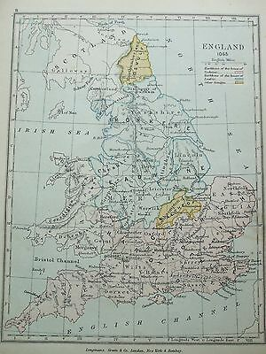 Antique Print Map Dated 1905 England In 1065 Map Of The World Atlas Uk History