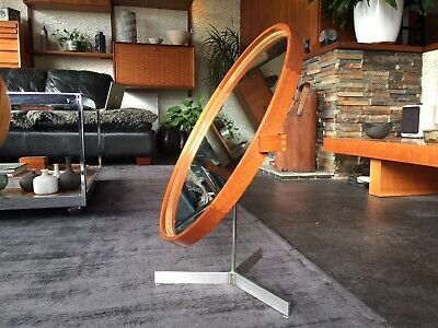 Vintage Uno and Osten Kristiansson Teak Table Mirror for Luxus Vittsjo Sweden