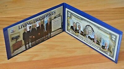 Genuine $2 Bill with Colorized Portraits of the Four Living Ex Presidents