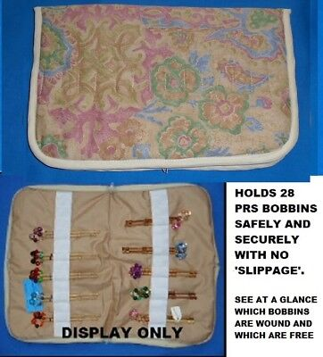 .Small Padded Zip Bobbin Bag Holds 28 Prs Bobbins Safely & Securely  Floral
