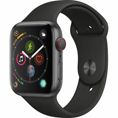 Apple Watch Series 4 44 mm Space Gray Black Sport Band GPS/Cellular - New