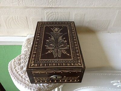 Vintage Wooden Trinket Box Carved Pattern With Mirror 1960s