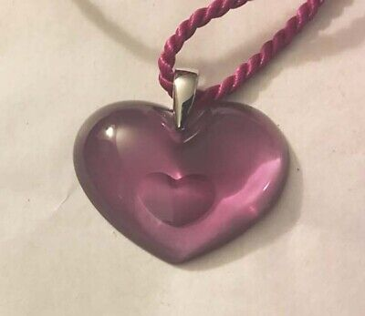 Authentic LALIQUE Hot Pink Tender Heart Crystal Pendant Necklace France NIB