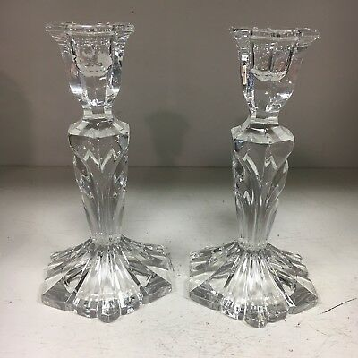 """Pair Of Crystal Glass Candlesticks Candle Holders Hexagonal Base Tapered 7"""""""