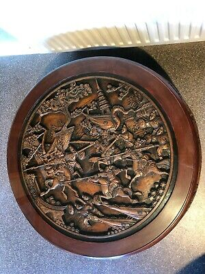 Chinese Carved Round Table - Nest, Stools, Glass, Unique,