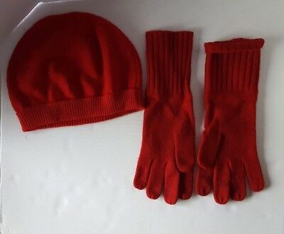 J.crew Women's Cashmere Beanie Stockign Cap & Gloves Red One Size