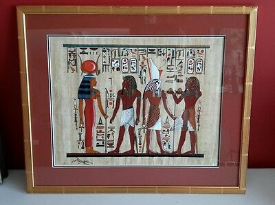 Hand Painted EGYPTIAN FOLK ART Papyrus Framed Tomb Drawing Hieroglyphics Signed