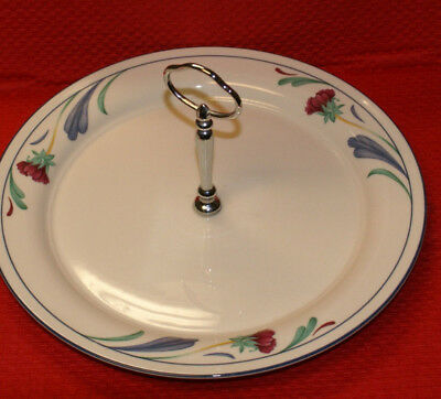"Lenox Chinastone Poppies On Blue 10 3/4"" Round Serving Platter w/handle"