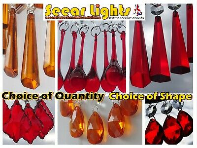 Red Christmas Tree Beads Chandelier Glass Crystals Orange Drops Hangers Droplets