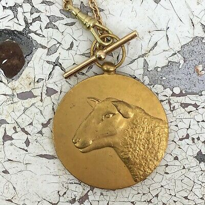 Gold Necklace Antique Sheep Pendant Bronze Art medal watch chain vtg animal