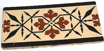 "Minton 4""x 8""  Glazed Encaustic Tile Buff, Black & Red, Pugin Design fr. 1800's"