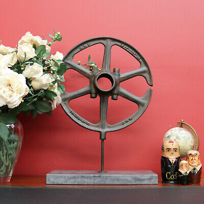Vintage Industrial Cast Iron and Marble Base Art Work Bronze Centrepiece
