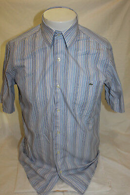 8b72a9f6 Lacoste Blue Stripe Short Sleeve Button Front Shirt Size 38 RN 87651 CA  16998