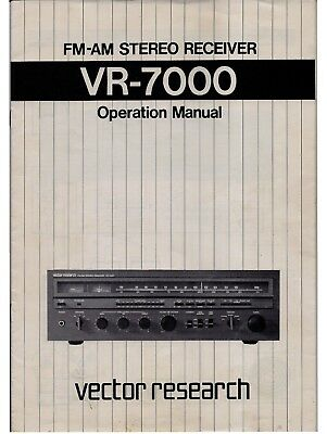 Vector Research VR-7000 FM/AM Stereo Receiver - Operation Manual PDF