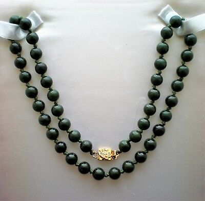 Vintage Chinese Spinach Green Nephrite Jade 7.75MM Beads Beaded Necklace 18.5""
