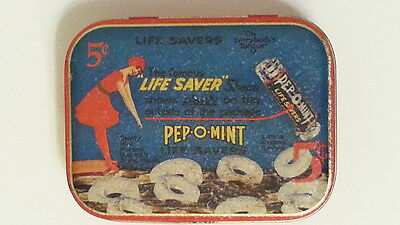 "Life Saver tin Pep-o-mint 5c ""On everybody's tongue"""