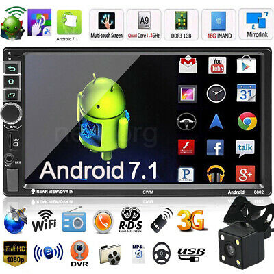 2Din 7in Quad Core Android 7.1 Car Stereo MP5 Player GPS Navi WiFi FM Radio +Cam