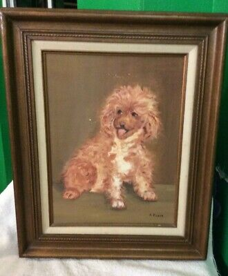 "Original Oil On Canvas Painting , Dog, Artist A. Piazza, 12 X 16"" A."