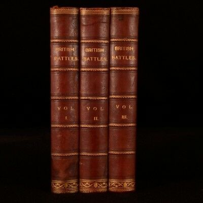 1873-75 3vol British Battles by James Grant Engraved Plates Illustrated
