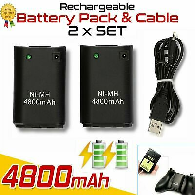 2x USB Cable Charger Pack Rechargeable Wireless Controller For XBOX 360 Battery