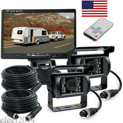 "7"" TFT LCD SCREEN MONITOR + 2x 4PIN BACKUP CCD CAMERA SYSTEM FOR TRUCK TRAILER"