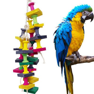 Lovely Pet Parrot  Bird Chew Hang Toys Wood Large Rope Cave Ladder Chew Toy #CF7