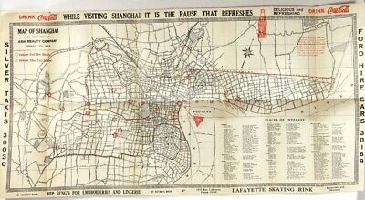 Map of Shanghai Compliments of Navy Y.M.C.A Shanghai China / 1938 Travel