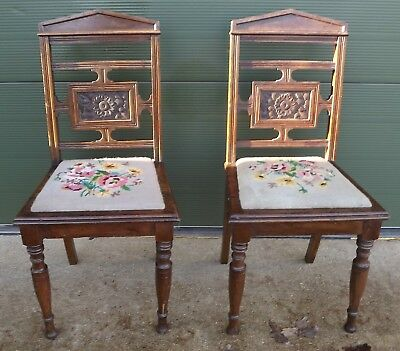 Pair of Antique Victorian Oak Hall Chairs Aesthetic Movement by Carnegie & Co.