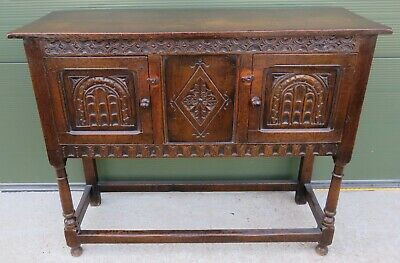 Vintage Solid Oak Small Sideboard in the Antique Jacobean Style Lovely Quality