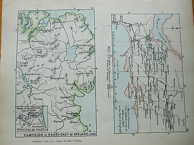 Antique Print Map Dated 1905 Campaign In North East Of Ireland 1690 Colour Map