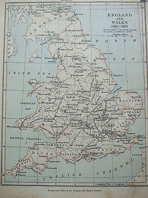 Antique Print Map Dated 1905 England & Wales 1485 - 1603 Map Of The World Atlas