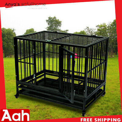 """42"""" Heavy Duty Dog Cage Crate Kennel Metal Pet Playpen Portable w/Tray & Wheels"""
