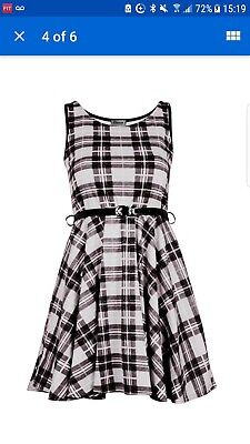 d4326fd7ae539c Ladies Red Tartan Sexy Skater Dress Ladies Check Belted Party Dress Size m/l