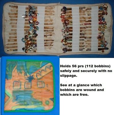 Padded Zip Bobbin Bag Holds 56 Pr Safely And Securely  'abstract' Pattern Mat.