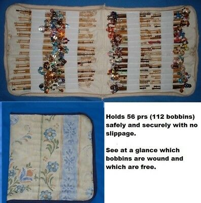 Padded Zip Bobbin Bag Holds 56 Pr Safely And Securely  Blue/Cream Pattern Mat.