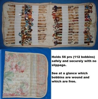 Padded Zip Bobbin Bag Holds 56 Pr Safely And Securely Rose/Cream Pattern Mat.