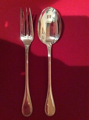 Christofle Perles - Silver Plated Serving Fork and Spoon