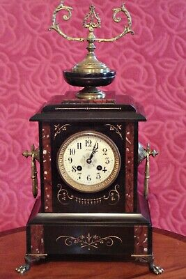 Antique A.D. Mougin Deux Medailles, Paris 8-Day Striking Marble Mantel Clock