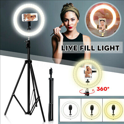 "10"" LED Studio Ring Light Dimmable Photo Video Lamp Kit For Camera Shoot Live"