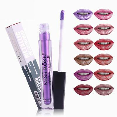 Long Lasting Lip Gloss MISS ROSE Metal Matte Liquid Lipstick Beauty Makeup Cosme