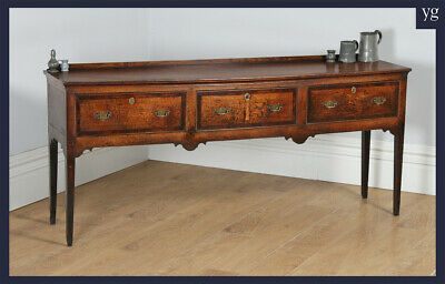 Antique English Georgian Oak 6ft Low Three Drawer Dresser Base Sideboard c1810