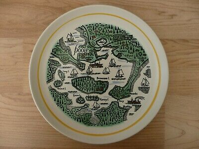 Vintage 60s 70s POOLE Pottery HARBOUR MAP Brownsea Island Hand Painted PLATE UK